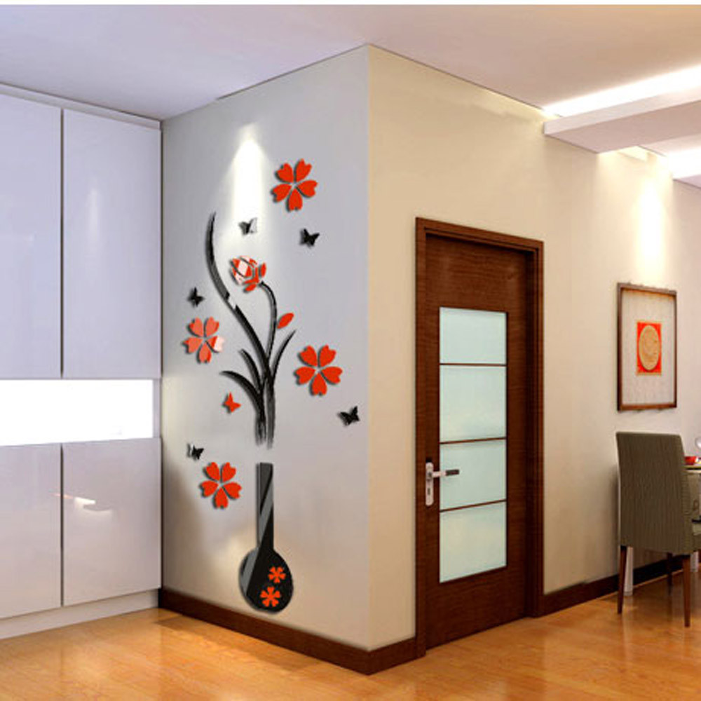 compare prices on trees acrylic online shopping buy low price wall sticker home decor diy vase flower tree crystal arcylic 3d wall stickers decal home decor