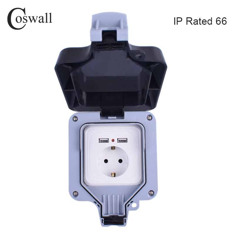 Coswall IP66 Weatherproof Waterproof Outdoor 16A EU Standard Wall Power Socket With Dual USB Charging Port 2.4A Output