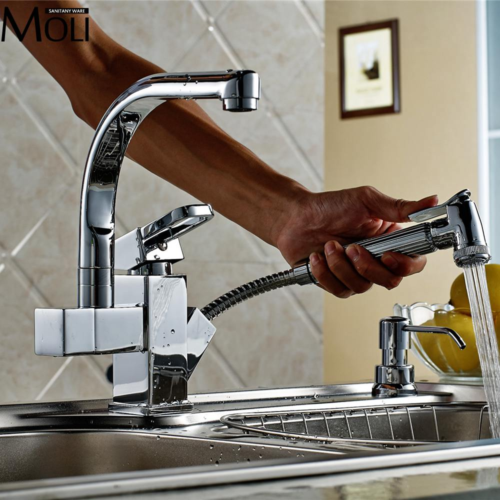 Square Kitchen Faucet Hot and Cold Pull Out Kitchen Sink Water Mixer Tap Spray Spout Chrome