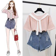 ICHOIX 2 pieces sets women Suit shorts striped t-shirt & denim two outfits sweet girl Korean suit