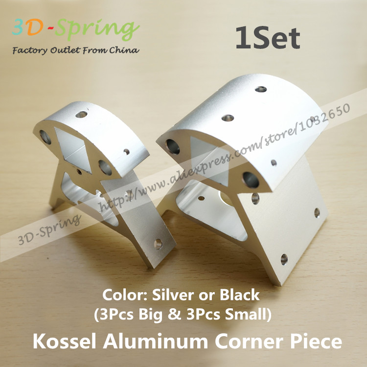1Set Reprap Kossel All-metal Aluminum Corner Piece Silver or Black Frame Vertical Base Delta Top Bottom Vertex 3D Printer Parts цена