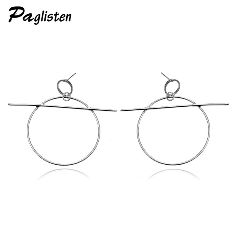 New Fashion Jewelery Round Design Geometric Irregular Gold / Silver Earrings Gift for Girls Girl