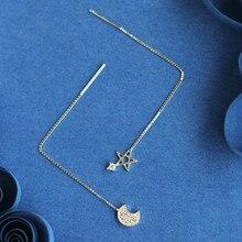 Flyleaf 925 Sterling Silver Moon Stars Long Earrings For Women Fashion Girl 2017 Cubic Zirconia Diamonds Sterling-silver-jewelry