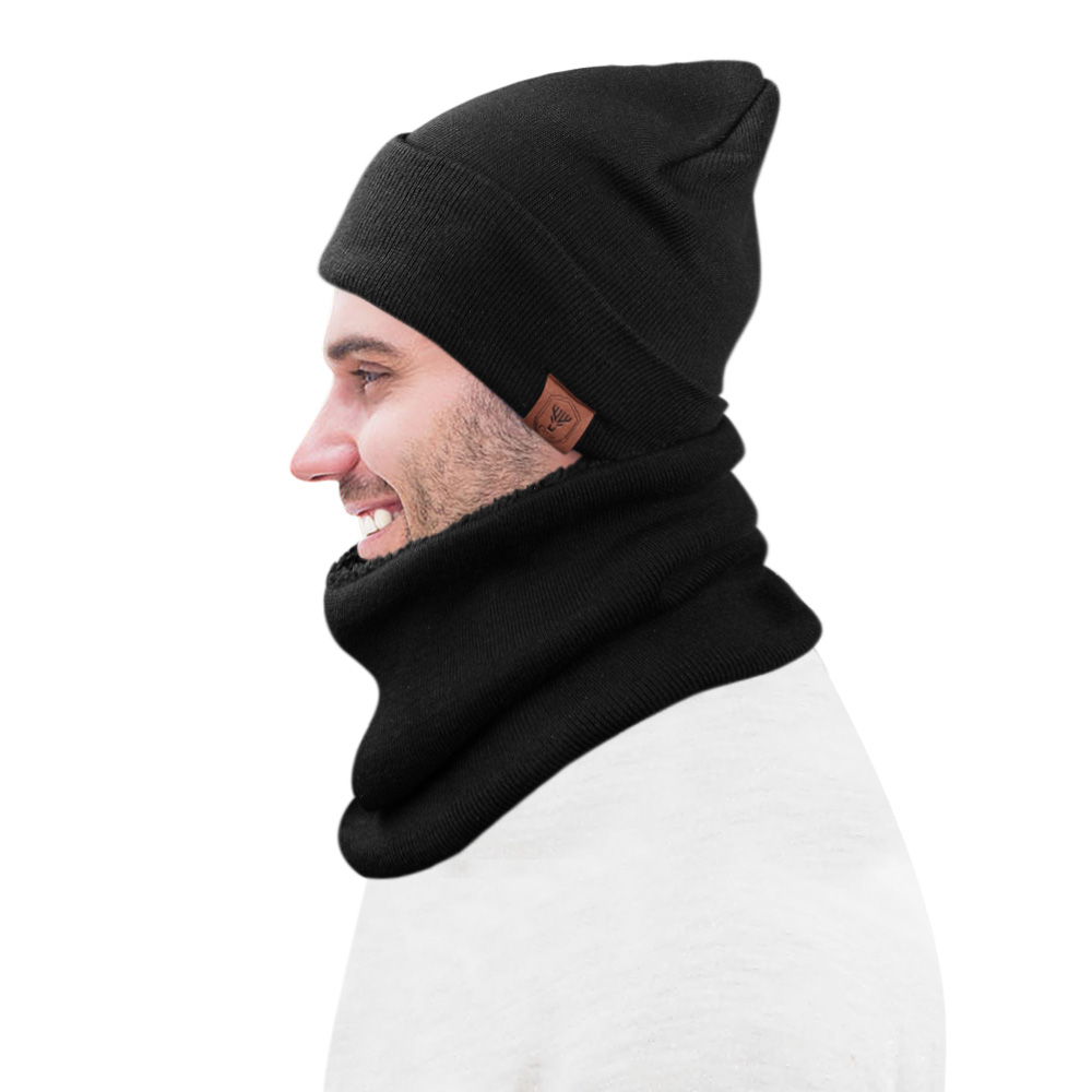 ... Skull Cap for Men and Women Bonnet Knitted Hats. OZERO Winter Knit Hat  Beanie Hat Ski Warm Circle Loop Scarf 2 in 1 Polar Fleece a9bbf8b0ec40