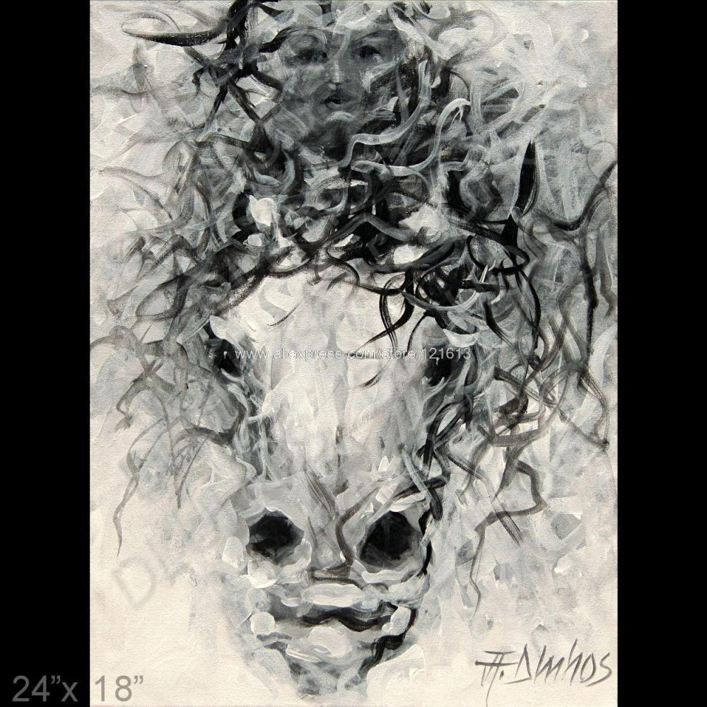 Equine Animal Horse Rider Black White Modern Art Painting Office Background On Canvas Wall Decoration In Calligraphy From Home Garden