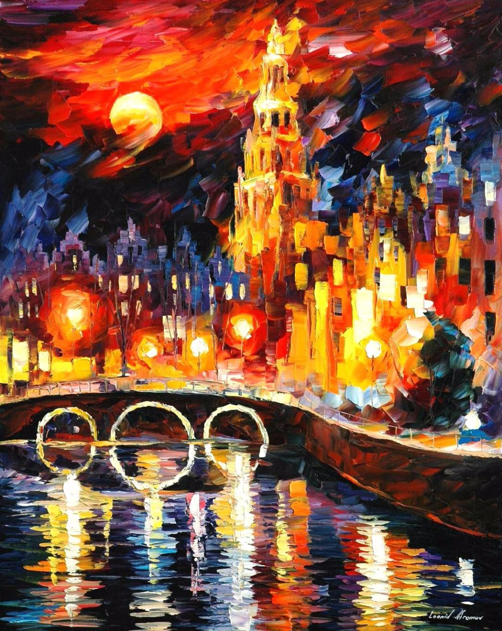 Mooie Schilderen Home Decor amsterdams magic Kleurrijke schilderijen Canvas Abstracte Moderne Kunst Hoge kwaliteit Handgemaakte