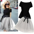 2 Piece Set Women Skirt top 2016 Summer Fashion Slash Collar Short Sleeve Top + Bow Mesh Gray Skirt Clothing 2 Piece Set  4086