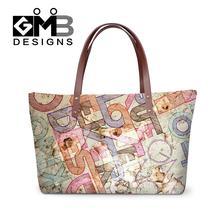Mode frauen marke umhängetaschen damen messenger taschen personalisierte drucke handtaschen für mädchen frauen top griff taschen