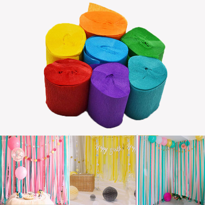 10M/Roll Crepe Paper Streamers DIY Paper Bouquet Curling For Home Wedding Birthday Party Baby Shower Decorations Background 75z