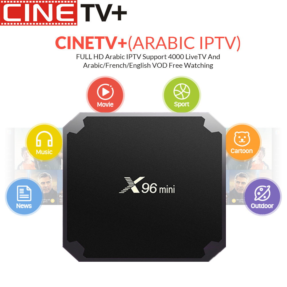 1 Year Cinetv X96 mini Android 7.1 TV BOX Amlogic S905X Quad Core 2.4GHz WiFi Media Player IPTV Smart Box 1GB 8GB French Arabic1 Year Cinetv X96 mini Android 7.1 TV BOX Amlogic S905X Quad Core 2.4GHz WiFi Media Player IPTV Smart Box 1GB 8GB French Arabic