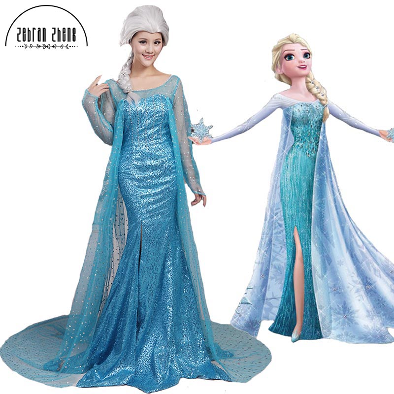 New Arrival Elsa Queen Adult Dress Cosplay Costume For Halloween Women Girls Party