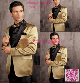 Hot Sales Brilliant Yellow Jacket With Black Lapel Groom Tuxedos Groomsmen Best Man Suits Mens Wedding/Business Tuxedos