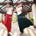 Feminino Verão Plus Size Calças Harém Bloomers Calças Perna Larga calças grandes Virilha Calças de Dança Solta Casuais Elástico Da Cintura Meados de Cruz calças