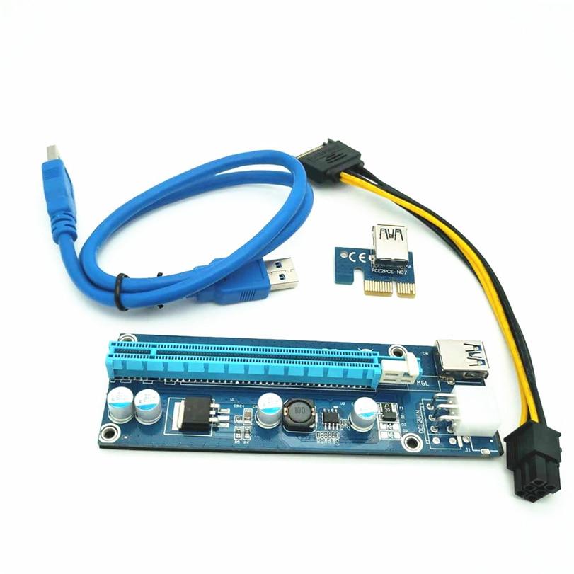 USB3.0 PCI Express 1x to 16x Extender Riser Card Adapter W / 24 ...