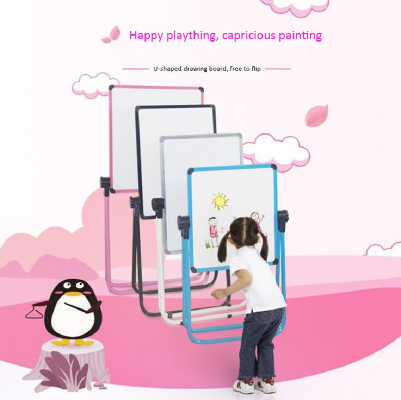 2019 Newest Magnetic Mobile Bracket Whiteboard Drawing Board Notice Message Board Black U-shaped  Whiteboard Stand
