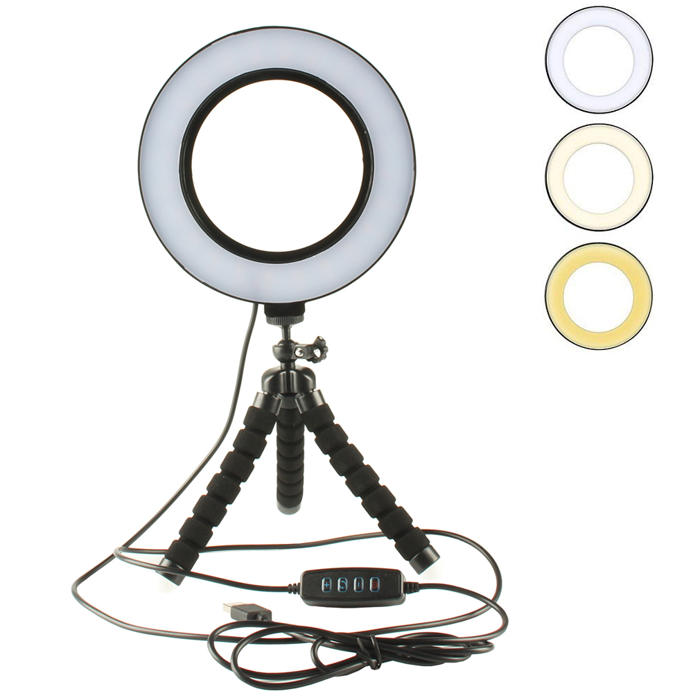 Dimmable LED Ring Light Mini Flexible Sponge Octopus Tripod Stand for Smartphone Camera YouTube Self-Portrait Shooting Makeup image