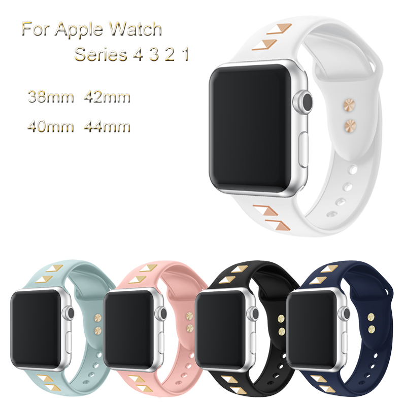 Sport Silicone Band For Apple Watch 4 3 2 1 Bracelet Strap For iwatch 44mm 40mm 42mm 38mm Punk Rivet Style Watchband AccessoriesSport Silicone Band For Apple Watch 4 3 2 1 Bracelet Strap For iwatch 44mm 40mm 42mm 38mm Punk Rivet Style Watchband Accessories