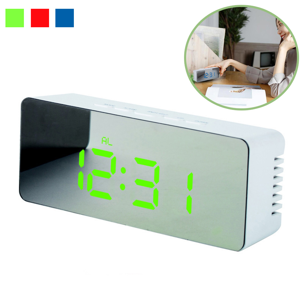 High Definition Multifunction Mirror LED Alarm Clock Digital Slilent Clock Home Office D ...