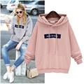 Fashion  Hooded Sweatshirt Women Pink 2016 Tracksuit  2 Colors Women Hoodies Sweatshirts Loose Hoddy Girls