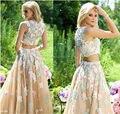 2017 de Dos Piezas Vestidos de Baile Una Línea de Apliques de Tul Formal Chicas Hermosa Flor Vestidos 2017 Scoop necking