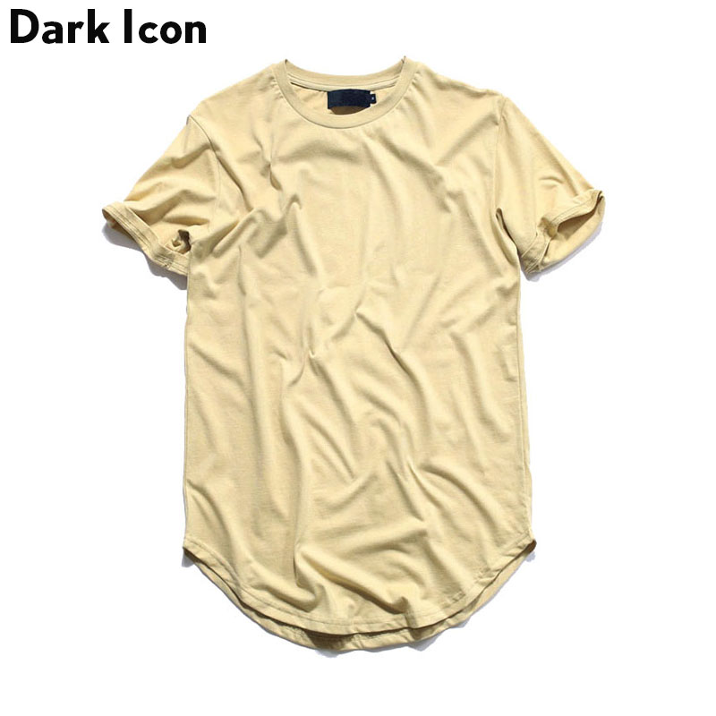 Dobladillo curvo Hip Hop Camiseta Hombres 2017 Verano En Blanco Extendido Para Hombre Camisetas Urban Kpop Hombres Camisetas Justin Bieber Kanye West ropa