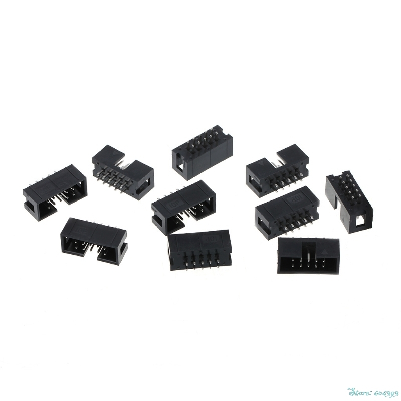 10Pcs/Set DC3 10 Pin 2x5 Pin Double Row 2.54mm Pitch Straight Pin Male IDC Box Header Connector