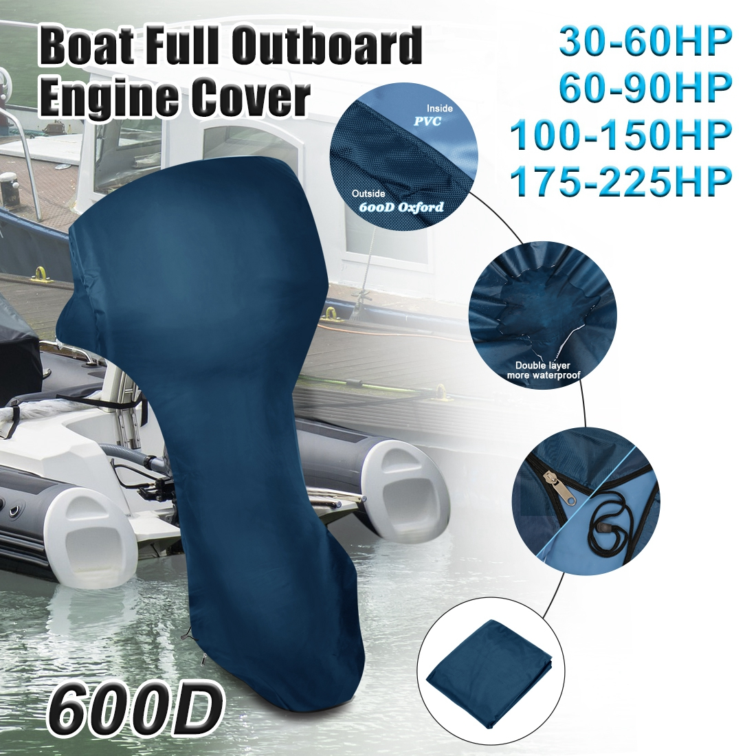 X Autohaux 30-225HP 600D Oxford Cloth PVC Full Outboard Engine Boat Motor Cover Boat Motors Protector Waterproof