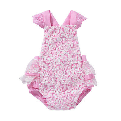 Pink Newborn Toddler Baby Girl Clothes Lace Floral Romper Outfits Summer Baby Girl Clothes Baby Onesie 0-24M newborn infant baby clothes girl lace strap floral romper jumpsuit headband 2pcs summer baby girl romper clothes baby onesie