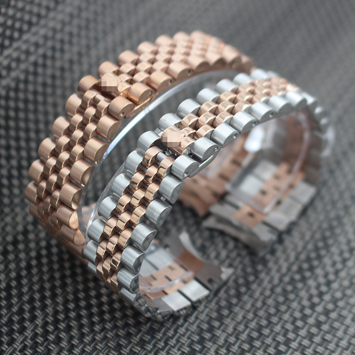 ФОТО  20mm New Rose gold 316L Solid Stainless Steel Watch Band Strap Curved End Deployment Clasp Buckle Five Rows Links Bracelet Belt