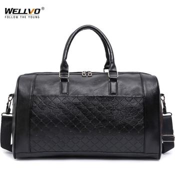 Большая мужская сумка из искусственной кожи, большие сумки через плечо для путешествий унисекс, сумки через плечо, тканые сумки для багажа д...
