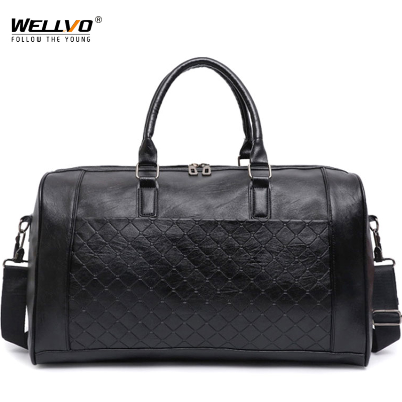 Large Men PU Leather Bag Male Big Crossbody Bags For Duffle Unisex Handbags Travel Shoulder Bag Woven Luggage Bags Women XA217WC Сумка