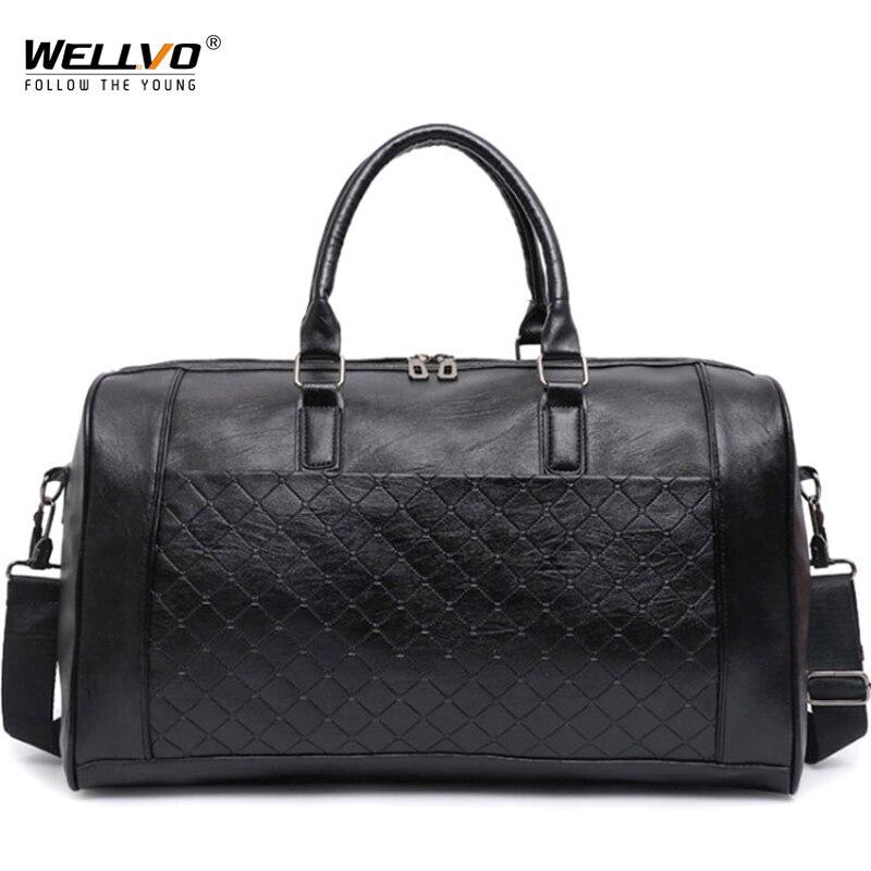 Wellvo Men PU Leather Bag Male Big Crossbody Bags For Duffle Unisex Handbags Travel Shoulder Bag Woven leather bags XA217WC