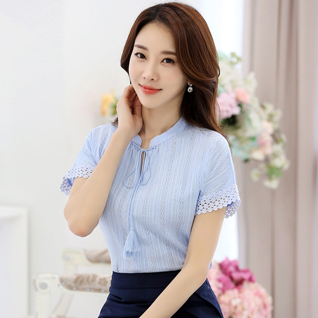 ae09ef03dd4 100% Cotton Shirt Short Sleeve 2019 Summer Women Blouses Tops Solid Casual  Clothes Lace Hollow