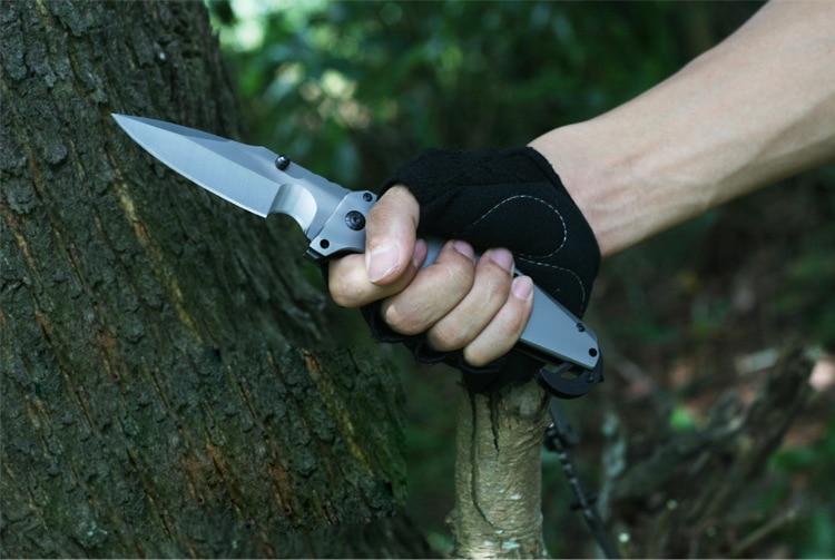 ФОТО Heavyweight Folding Knife Brush Finish Hunting Tactical Knife Camping Titanium Pocket Knife 1864#
