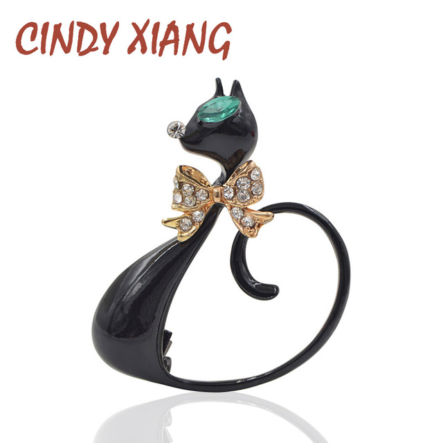 CINDY XIANG 2017 Long Tail Black Cat Brooches Unisex Elegant Animal Brooch Pin F