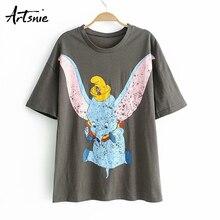 Artsnie Verano de 2019 de las mujeres Camiseta de manga corta cuello en o streetwear tops mujer camiseta mujer t camisa las mujeres