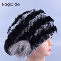 Womans Real Fur Hats Knitting Caps UFO Hats Caps Fur Rex Rabbit Beanies Beret Skull Caps