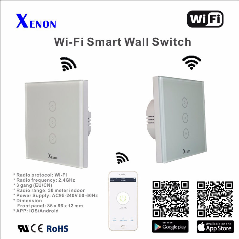 Work with Amazon Alexa Xenon Wall Switch 110~240V Smart Wi-Fi Switch Glass Panel 1gang 2gang 3-gang EU Touch Light wall Switch manufacturer xenon wall switch 110 240v smart wi fi switch button glass panel 1 gang ivory white eu touch light switch panel
