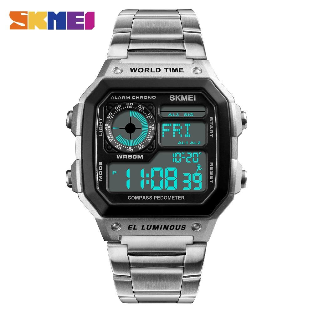 SKMEI Luxury Sport Watch Men's Digital Watch Top Fashion Male Clock Compass Chrono Man Wrist Watches New erkek kol saati 1382