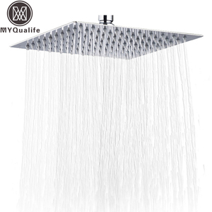 Global Free Shipping 10 inch Rainfall 25cm Squre Shower Head Ultrathin Style Bathroom Showerhead Chrome Finished