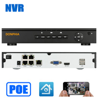 DONPHIA 4CH Onvif Full HD 1080P 48V Real PoE NVR Network Video Recorder For PoE IP