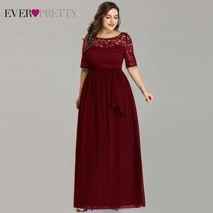 Image 4 - בתוספת גודל כחול כהה ערב שמלות אלגנטי ארוך אונליין חצי שרוול תחרה ערב מסיבת שמלות לחתונה Robe דה Soiree 2020