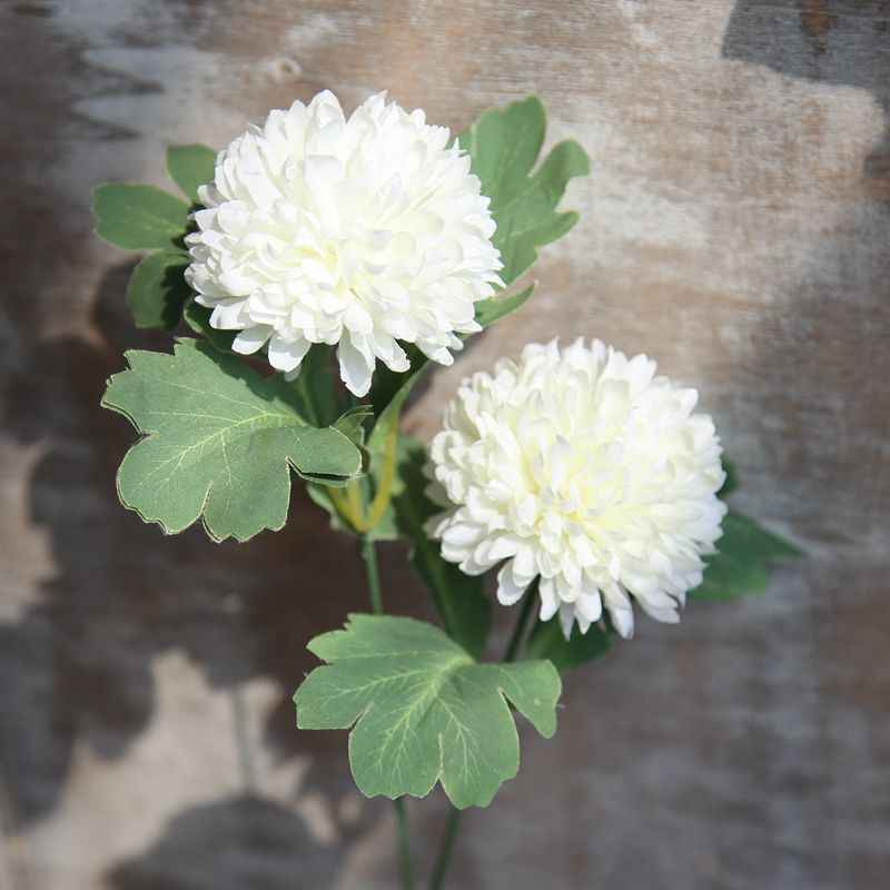 Artificial Flowers 2 Heads/Branch Chrysanthemum Flower Ball Bud Fake Flower Branch Home Decor for Wedding Home Vases Decoration