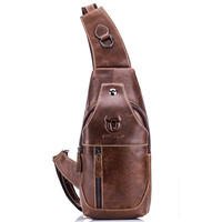 Men S Chest Bag Genuine Leather Single Messenger Bags Leather Travel Crossbody Casual Vintage Chest Rucksack