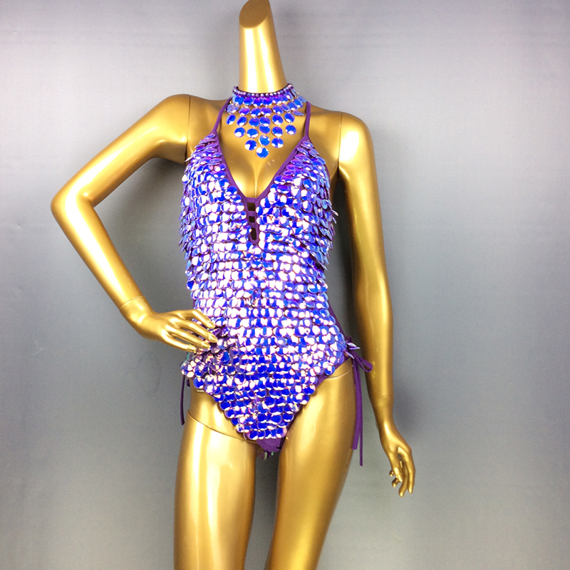 Female Bodysuit Sequins Sparkling Swimsuit latin Belly Dance Costume Dancer One Piece Outfit Costume Stage Performance