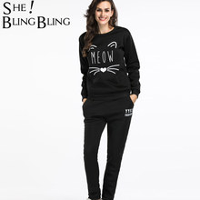 SheBlingBling Two Piece Outfits Fleece Sweatshirt Sets Abstract Cat Head Print Long Sleeve Tops and Elastic Waist Pockets Pants(China)