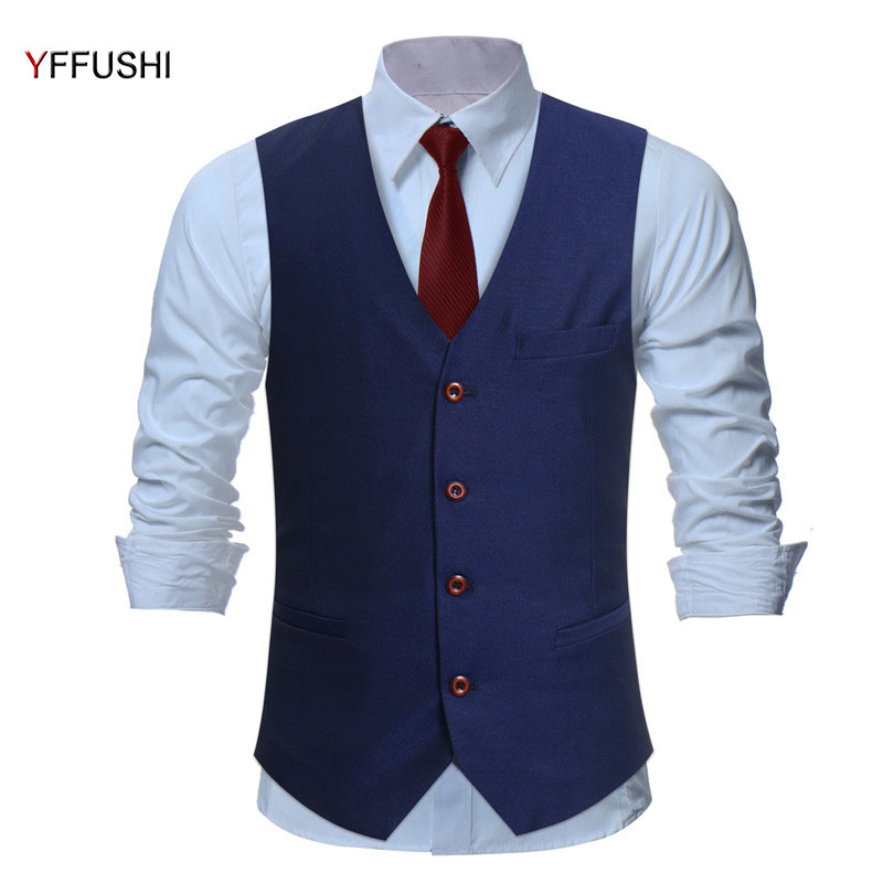 YFFUSHI New Men Vest BlackBlue Classic Single Breasted Chaleco Hombre Men Vest Wedding Slim Fit Business England Style 4XL