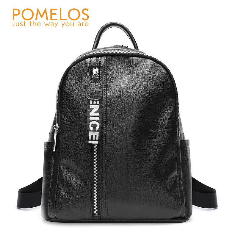 POMELOS Women Soft Leather Preppy Style Backpack Ladies Back Pack Rucksack Girls Female Fashion Solid Back Bag Travel Backpacks korea style fashion backpacks for men and women solid preppy style soft back pack unisex school bags big capicity canvas bag