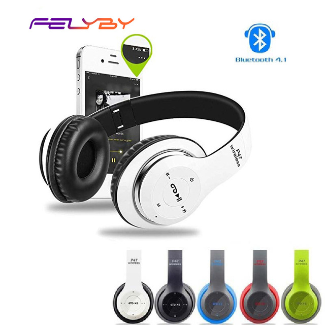 FELYBY Wireless Bluetooth Earphones Headset Stereo Headphones Earphones with Microphone /TF Card for Mobile phone IPHONE