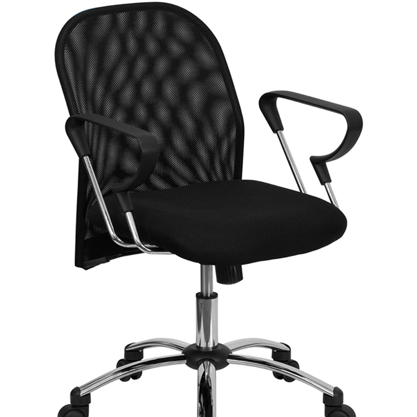 Flash Furniture Mid-Back Black Mesh Office Chair with Chrome Base [863-BT-215-GG]